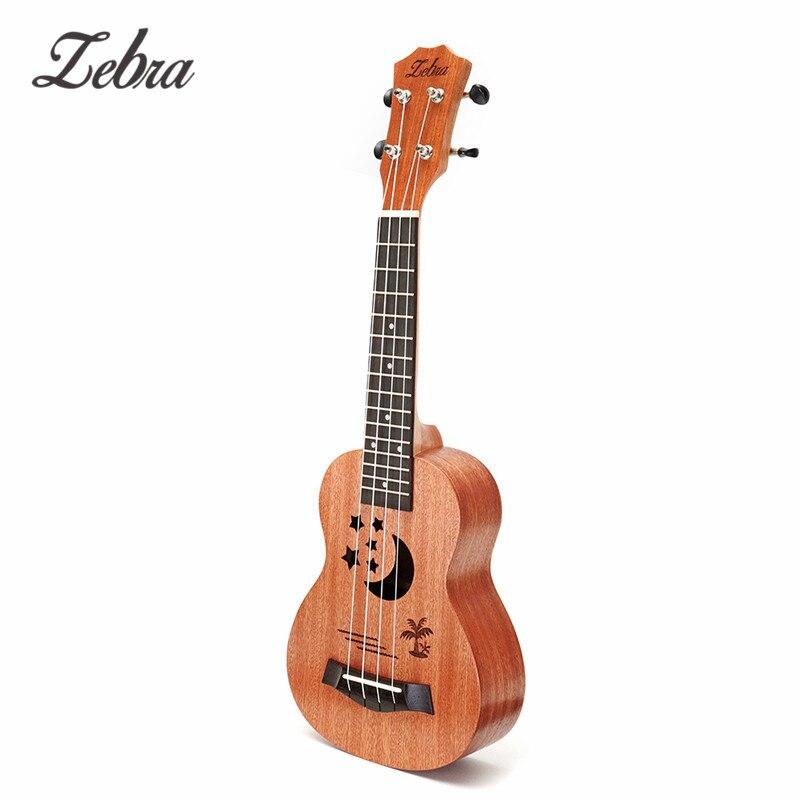 """Zèbre 21 """"Sapele motif étoile ukulélé 4 cordes Nylon Hawaii Mini guitare Uke touche palissandre Ukelele Instruments de musique"""
