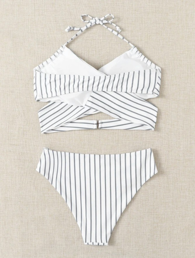 Women Female Two-Piece Swimsuits Womens Solid Color Bikini Top+ High Waist Panties Purple S/M/L 6