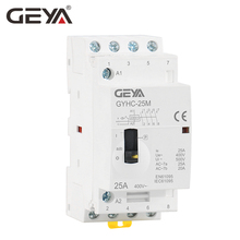 цена на Free Shipping GEYA Manual Contactor 4P 16A 20A 25A 4NO 220V 50/60HZ Din rail Household AC Modular Contactor