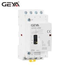 Free Shipping GEYA Manual Contactor 4P 16A 20A 25A 4NO 220V 50/60HZ Din rail Household AC Modular Contactor стоимость