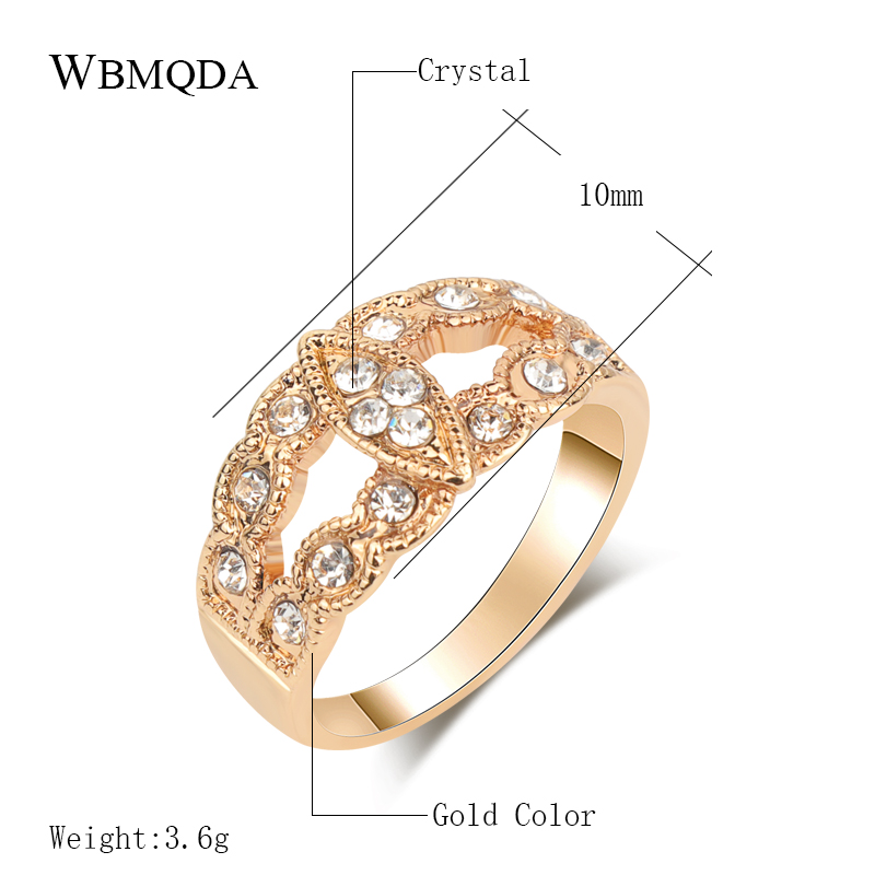 Kinel Bride Engagement Rings For Women Gold Color Retro Look Big Oval Austrian Crystal Ring Vintage Jewelry 2019 New