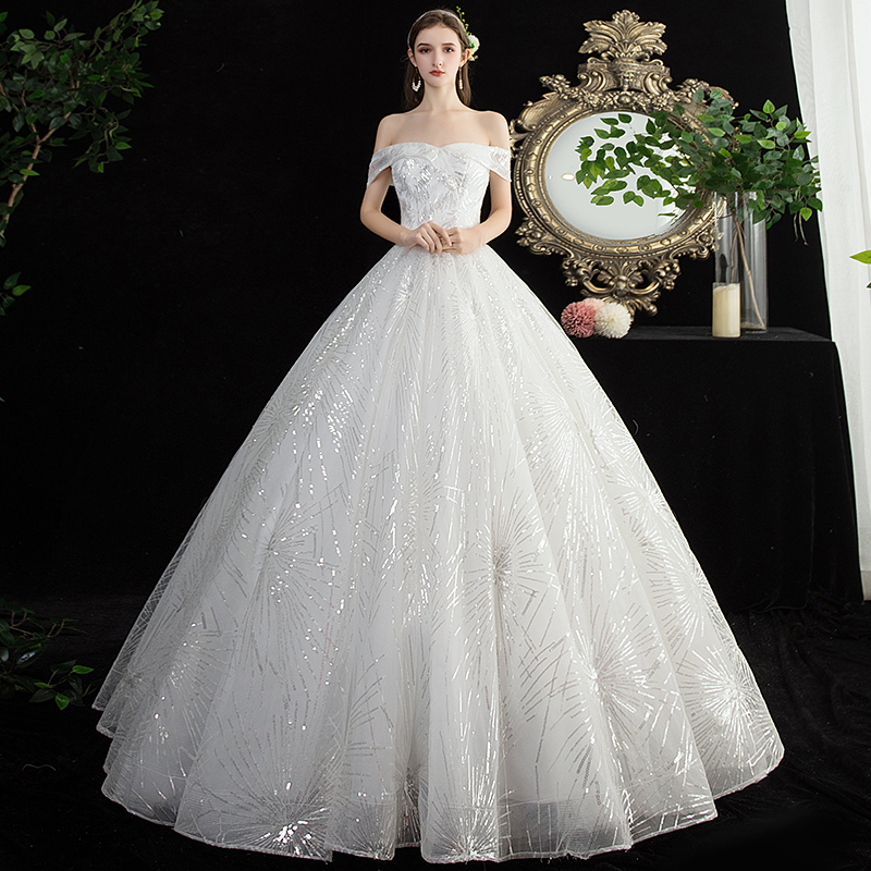 New Arrival 2019 New Simple Wedding Dress Sexy Boat Neck Shining Sequin Princess Slim Plus Size Bridal Gown Robe De Mariee L