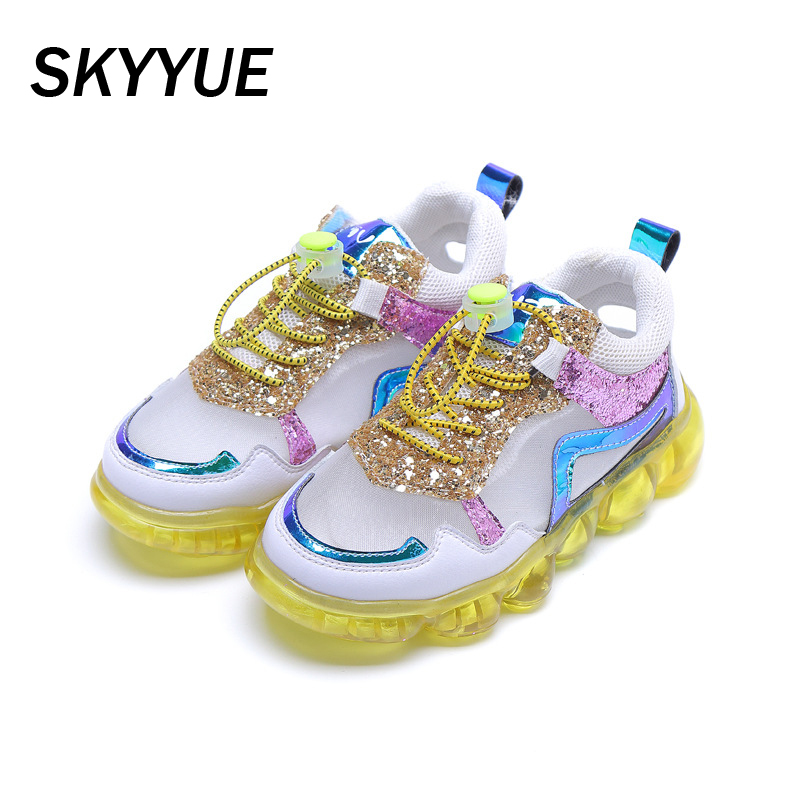Spring Kids Sport Sneakers Baby Boys Glitter Brand Shoes Girls Mesh Casual Sneakers Children White Slip On Sneakers Trainers New