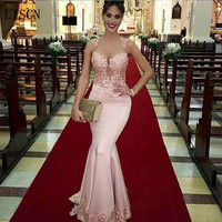Custom Made Guest Sexy Party Dress Illusion Red Carpet Vestido De Festa Lace Mermaid Long Pink Satin Appliques Evening Gown
