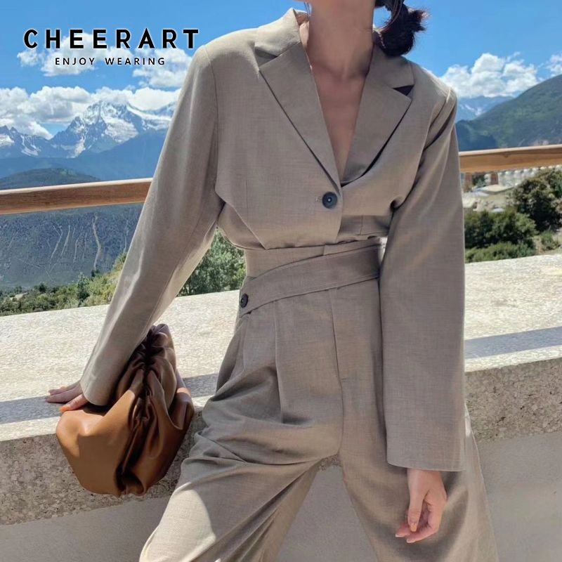 Cheerart 2 Piece Set Women Crop Blazer Set Two Piece Set Top And Pants Ladies Suit Fall Korean Outfits 2019 Clothes