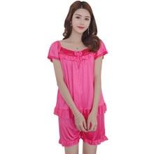 Short Sleeve Silk Pajamas Spring Women Summer Pajama Sets Silk Pijama Sleepwear Pyjamas Vs Pink Sexy Home Couple Nightwear Set