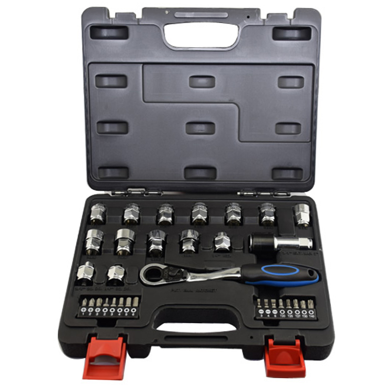 32Pcs Ring Ratchet Spanner Ratchet Wrench Set S2 Material Bits Socket Metric 8-19Mm Inch Auto Repair Hand Tools