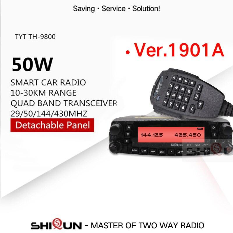 1901A TYT TH9800 TH-9800 Mobile Transceiver Automotive Radio Station 50W 809CH Repeater Scrambler Quad Band VHF/UHF Car Radio