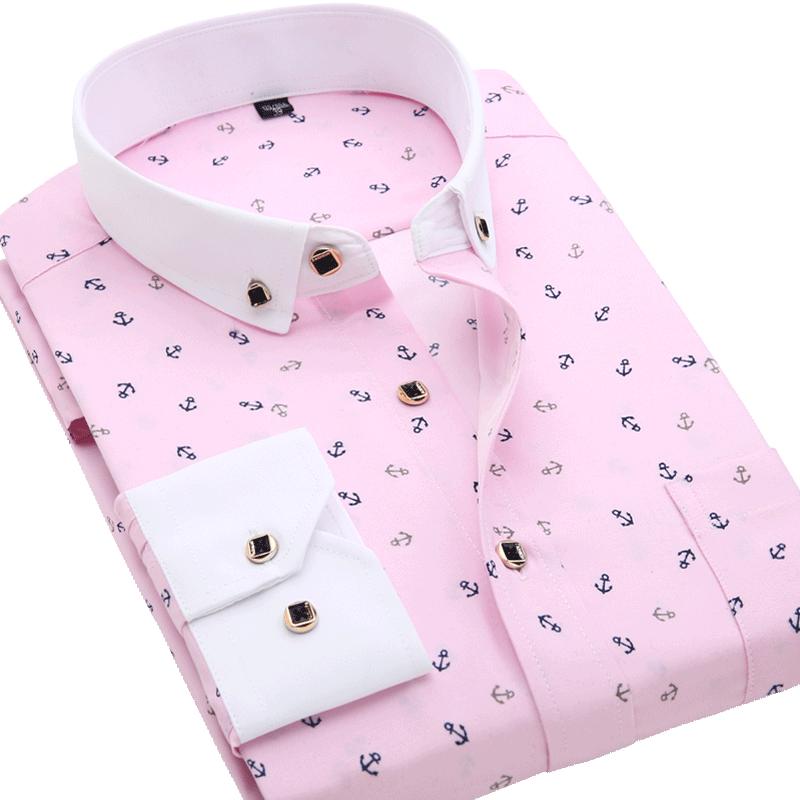Men Shirt Long Sleeve Floral Printing Plaid Fashion Pocket Casual Shirts 100% Polyester Soft Comfortable Men Dress Shirt DS375 22