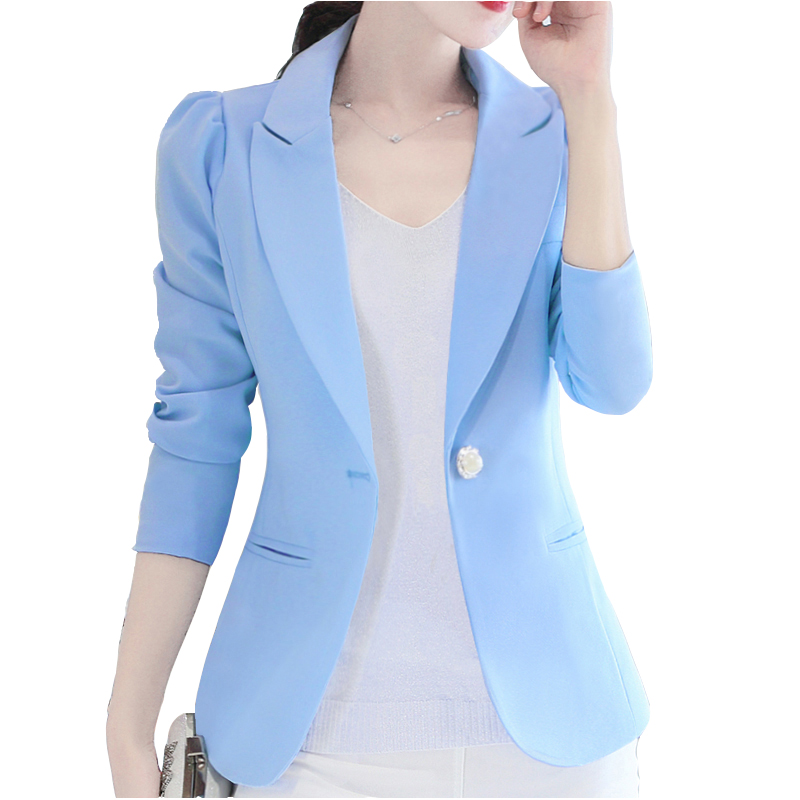 2019 New Fashion Blazer S Mple Jacket For Women Two Pockets Candy Color Coat Single Button Outerwear Female Office Lady Tops
