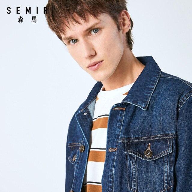 SEMIR denim Jacket men coat dark Blue Casual Teens Denim Jacket cotton Turn-down Collar Long Sleeve Denim Bomber jackets man 2