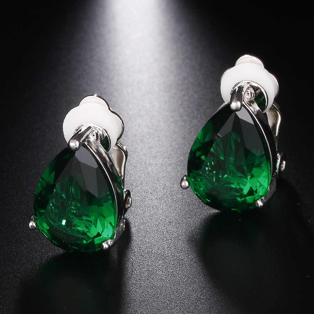 Mode Frauen Wasser Tropfen Zirkonia Clip Auf Ohrringe Partei Schmuck Geschenk