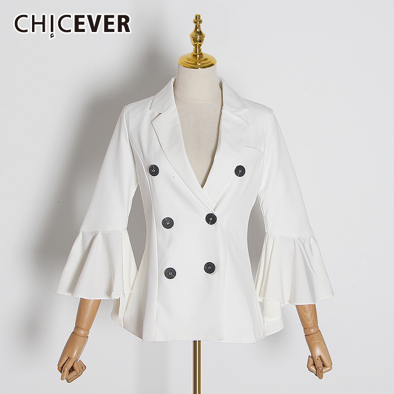 CHICEVER Korean Women's Blazer V Neck Flare Sleeve Ruffles Patchwork Double Breasted Female Jackets Fashion 2019 Autumn Clothes