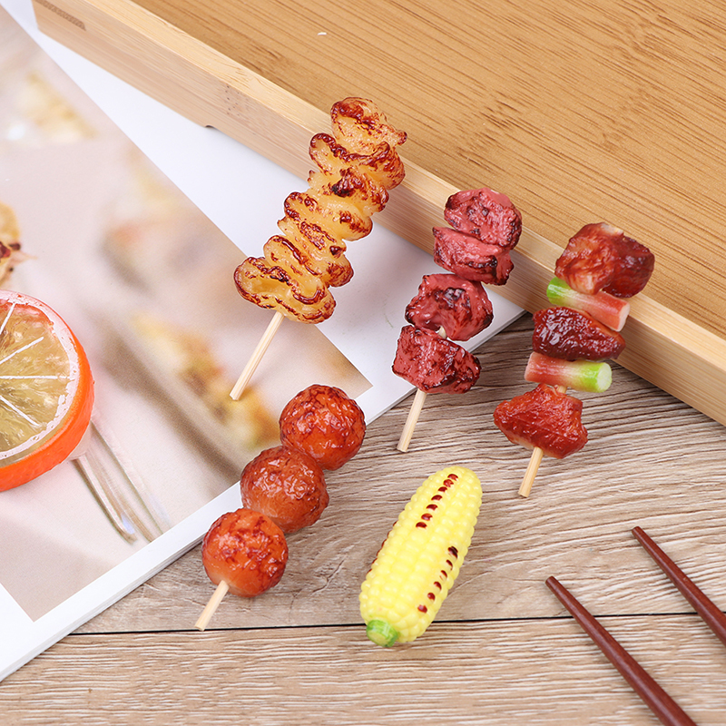 1pc Mini Pretend Play Food Toy Simulation BBQ Miniature For Doll House Kitchen Decoration Crafts Toys For Children