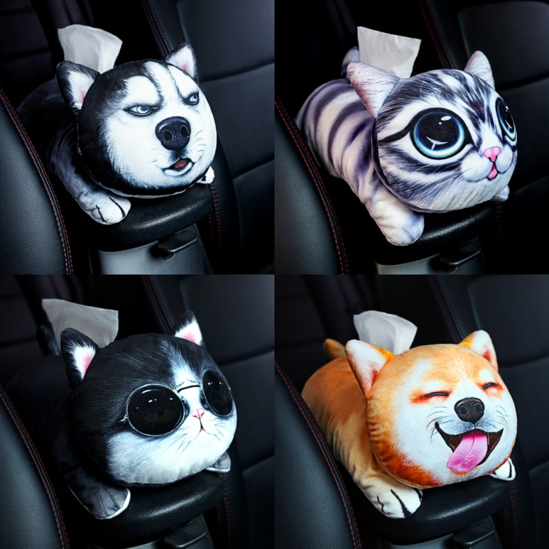 Cartoon Creative Zhi Jin Dai Automobile Armrest Box Cover Paper Extraction Box Car Fixed Sun Shade Chair Cute Interior Trim Supp