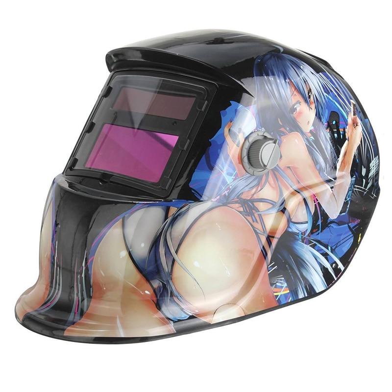 Solar Battery Automatic Welding Helmet Welding Mask Automatic Welding (Solar Power For Recharge) Face Protection Beautiful Girl