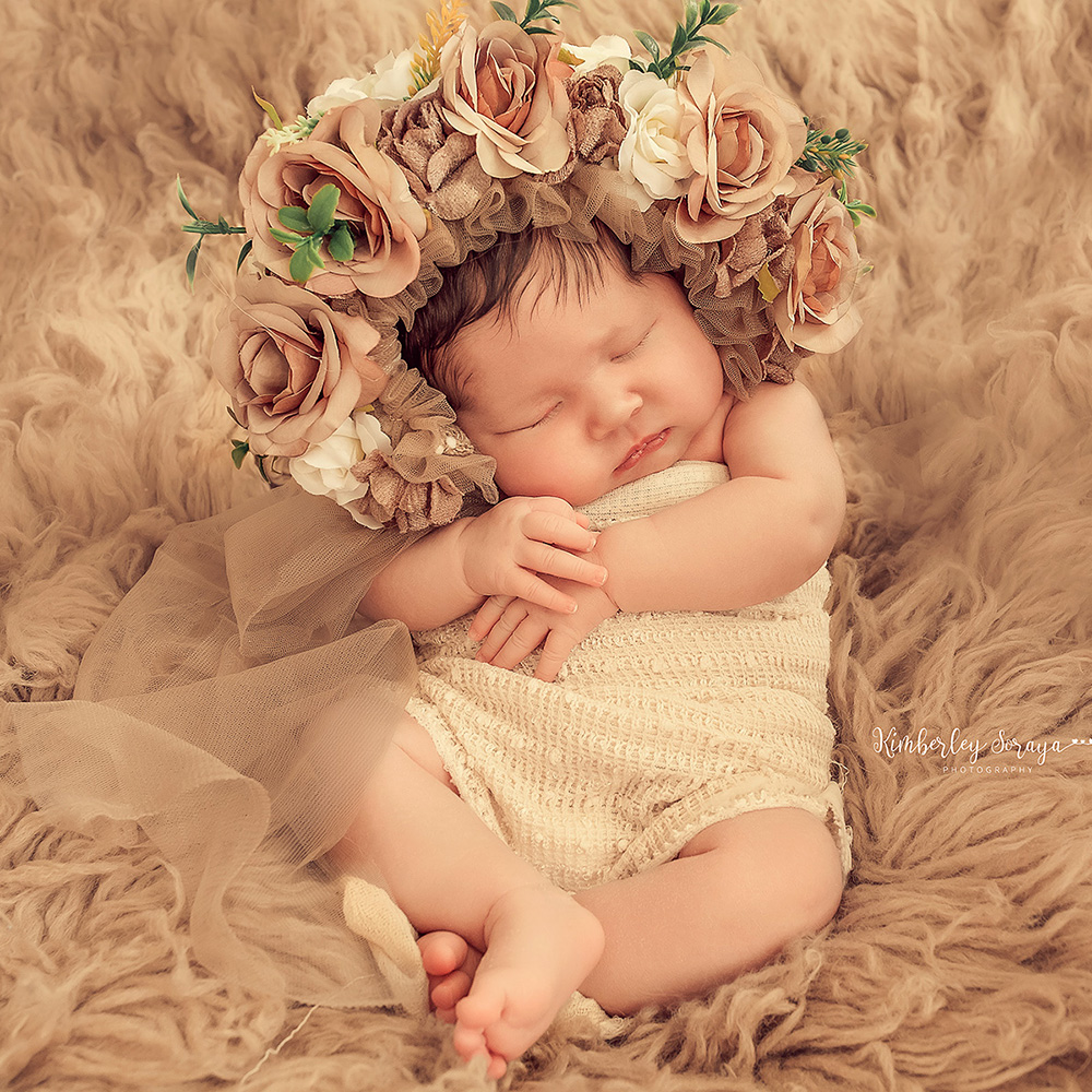 Don&Judy Newborn Photography Set Handcraft 100% Wool Felted Blanket & Newborn & Sitter Floral Bonnet Accessories For Photo Shoot