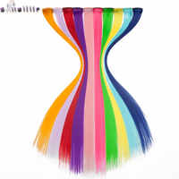 S-noilite 1 włosy clip in rozszerzenia 22 cal długie proste przedłużanie włosów syntetyczne kolorowy kolor klip do włosów na fryzurę 10 sztuk/paczka