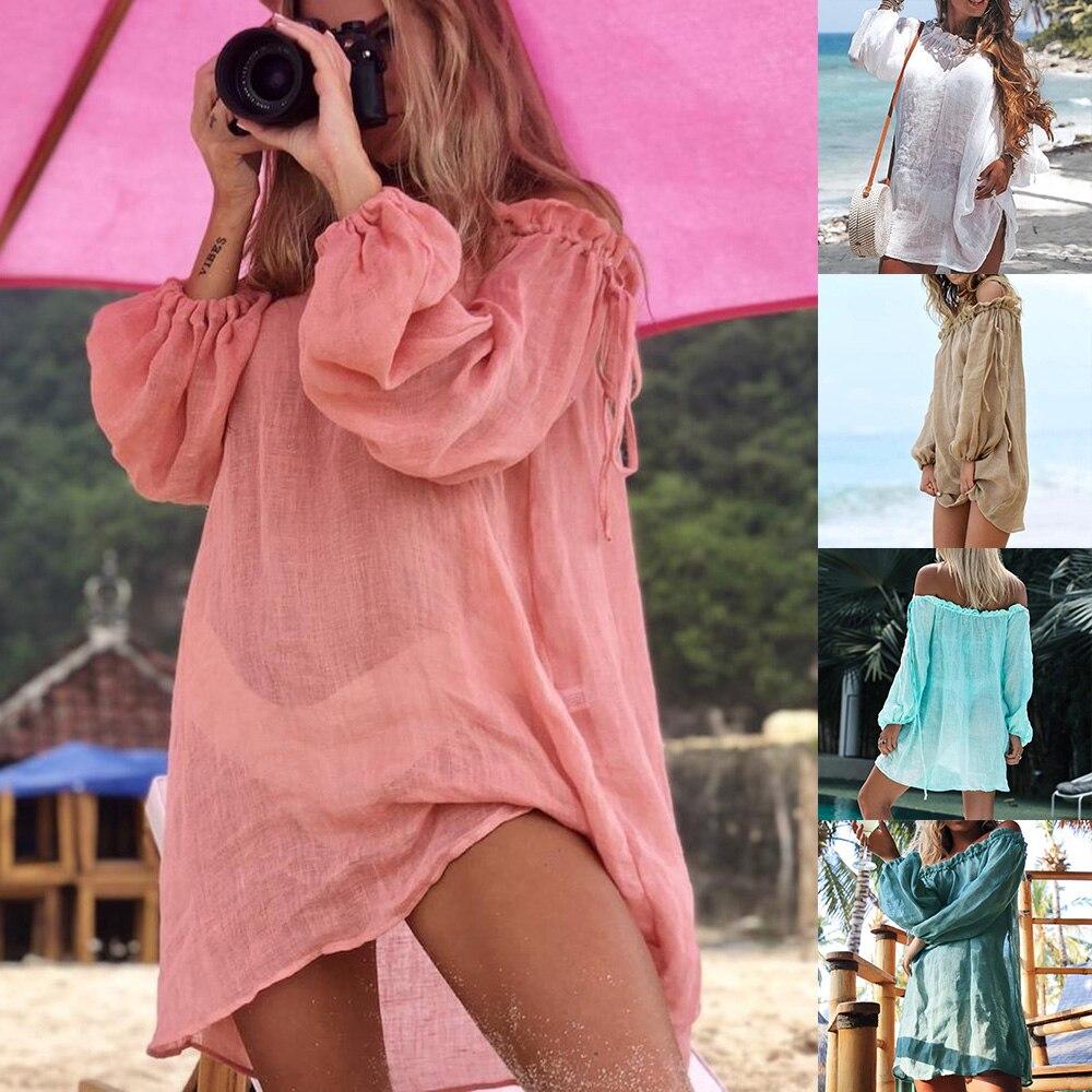 Off Shoulder Beach Dress Bikini Cover Up Solid Sarong Swim Cover-ups Long Sleeve Beachwear Female Tied Tunic Summer Swimwear