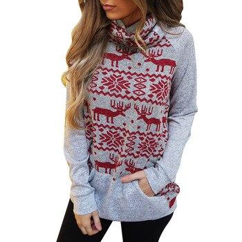 2020 New Merry Christmas Turtleneck Snowflake Elk Print Wool Sweater Xmas Knitting Tops Fashion Gray Long Sleeve Sweater #LR4 elk snowflake geometric print christmas hoodie