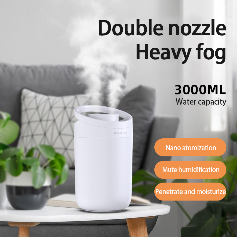 1Pcs Air Humidifier 3L large-capacity Air Purifier For Home Bedroom Portable Water-adding Office Double-Jet Humidifier Sprayers-4