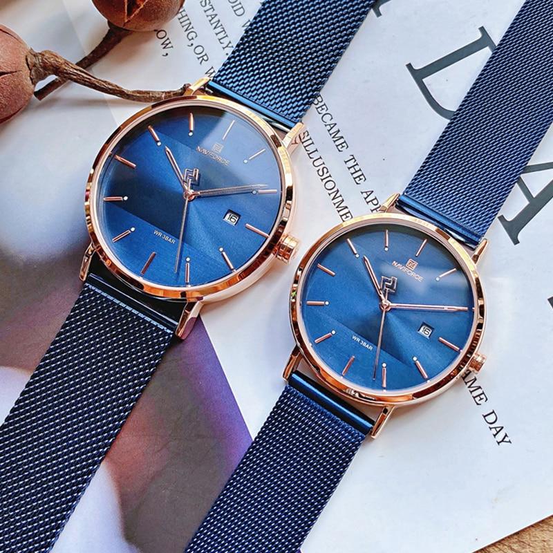 NAVIFORCE Quartz Watches Clock Male Couple Waterproof Top Brand Women Luxury Men Steel Casual Date Wrist Watch Relogio Masculino