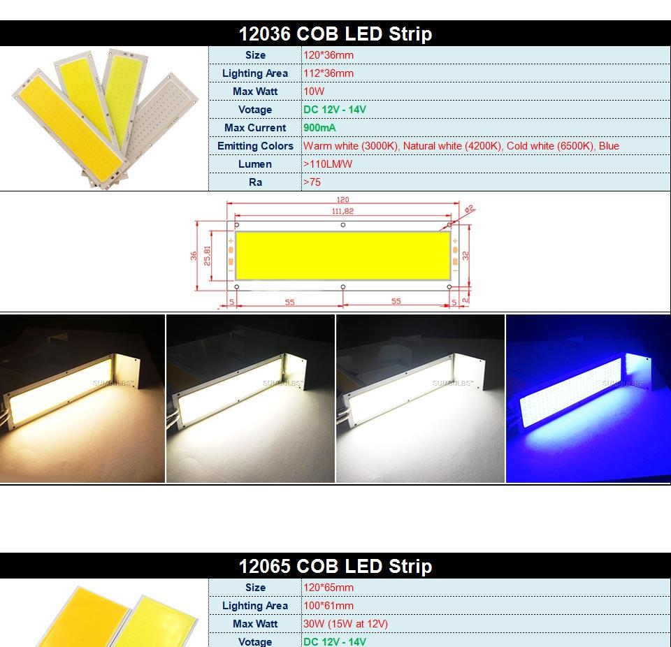 DC12V COB LED Strip Light Source 5W 10W 20W 50W 200W 300W LED Bulb White Blue Red Flip Chip COB Lamp DIY House Car Lighting 12V (6)