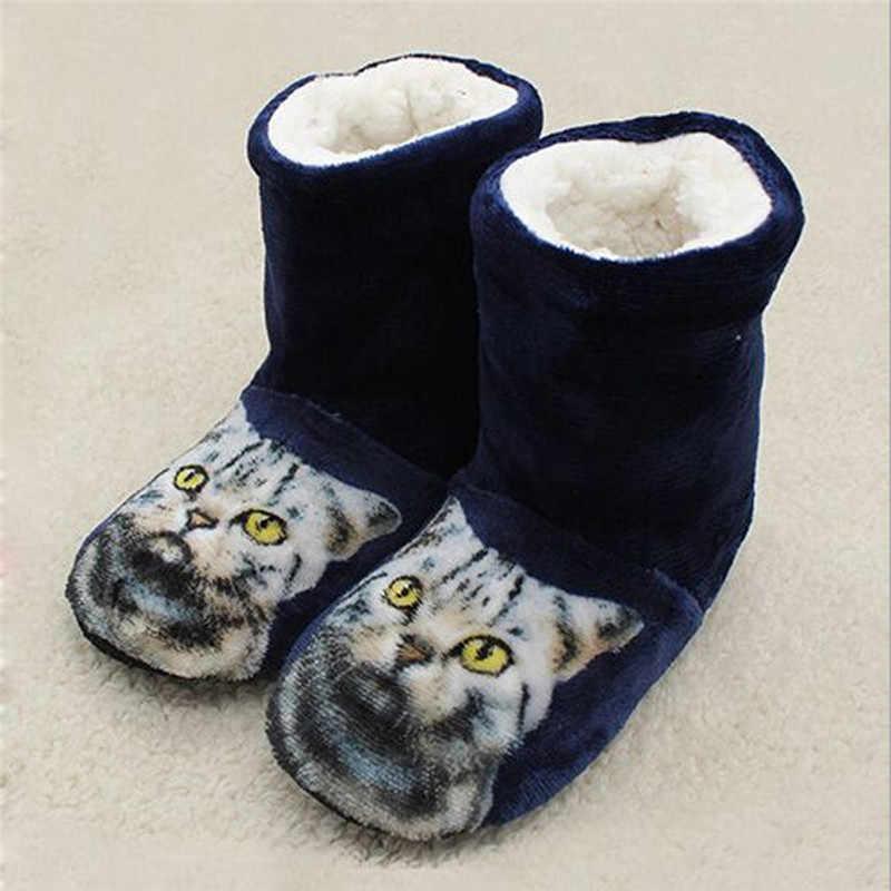 Kadın Kedi Baskı Ev Botları Kış Kalın Peluş yarım çizmeler Peluş Kapalı Zemin Ayakkabı Rahat Sıcak Yumuşak Alt Patik Botas #40