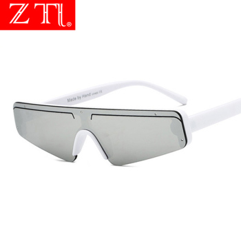 ZT Fashion Flat Top Half Frame Sunglasses Women Retro Stripe Men Rimless Cat Eye Shades UV400 Ins Hot