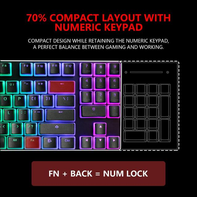 RedThunder Mechanical Gaming Keyboard with PBT Pudding Keycaps, 89 Keys RGB Backlit Wired Keyboards with Blue Switches for PC 2