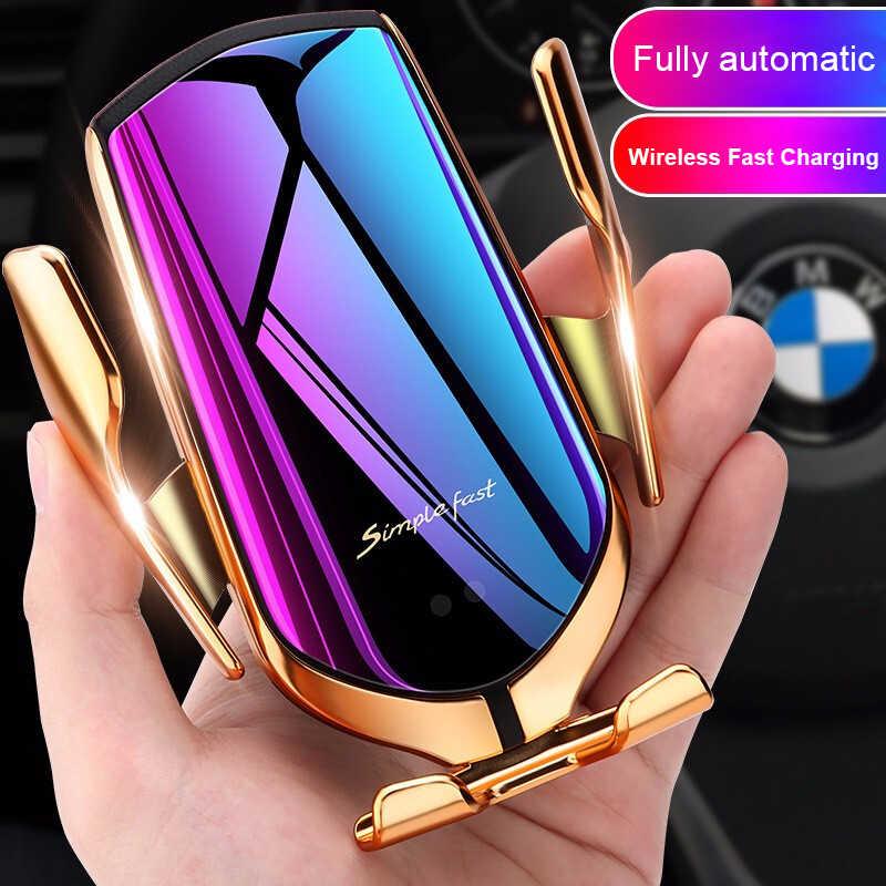 Soporte para teléfono Qi para coche 10W cargador inalámbrico de carga rápida 360 rotación Sensor infrarrojo sujeción automática GPS soporte para teléfono móvil R1