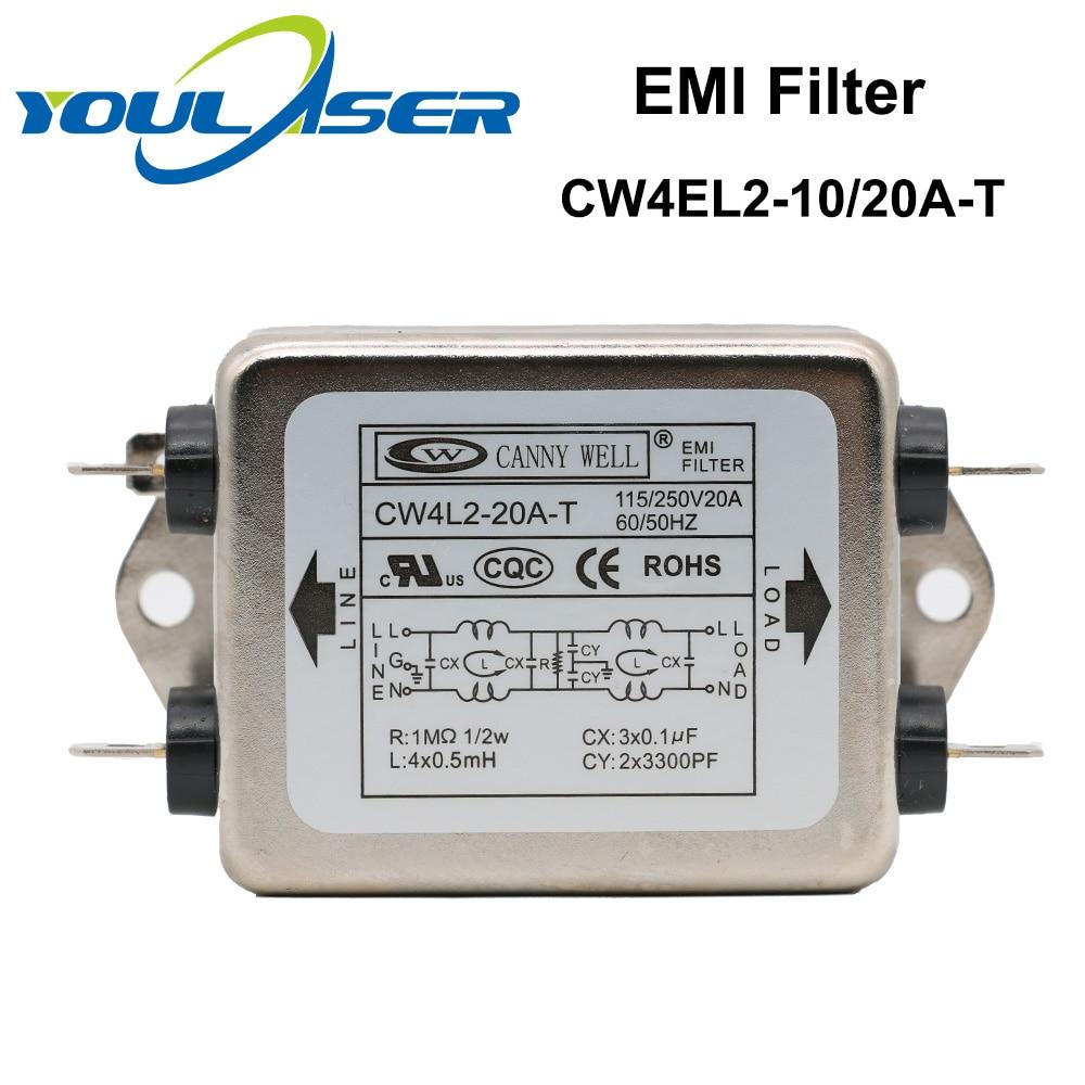 Power EMI Filter CANNY WELL CW4L2-10A-T / CW4L2-20A-T Single-phase AC 115V / 250V 20A 50/60HZ Power Supply Filter Free Shipping