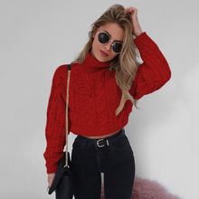 Red Short Sweater Women Turtleneck Autumn Winter 2019 Korean Style Warm High-Necked Fashion Casual Sweaters Female Coats