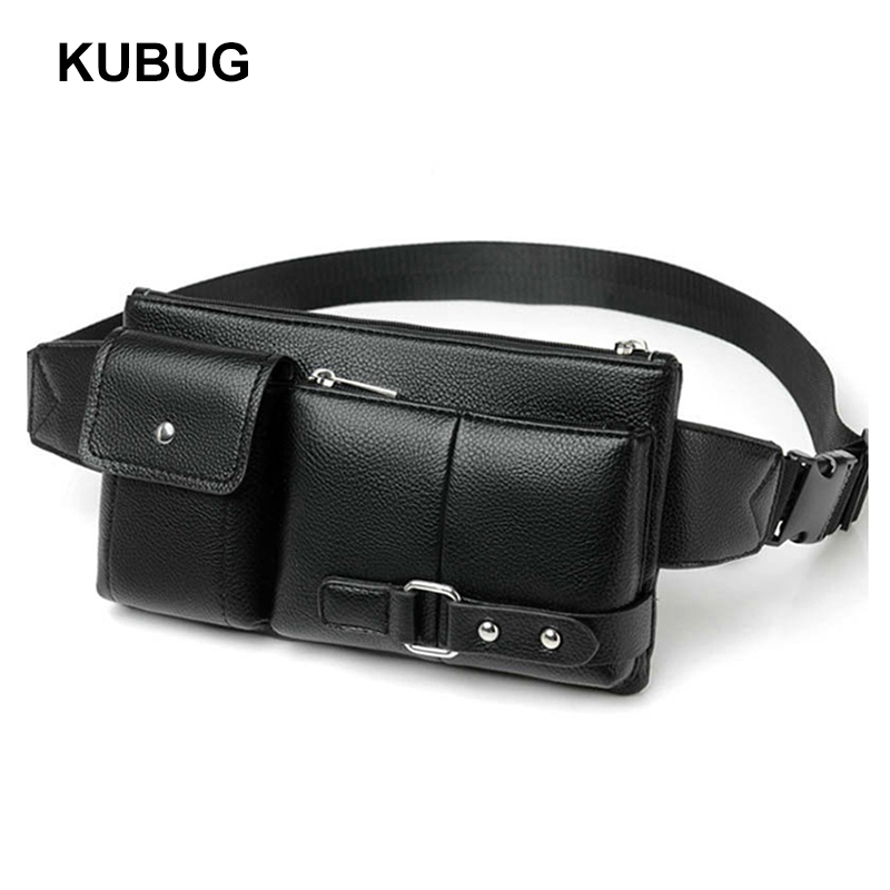 KUBUG Men Waist Packs Multi-functional Anti-theft Leather Purse Casual Chest Bag Cross-body Shoulder Bag Outdoor Running Bags
