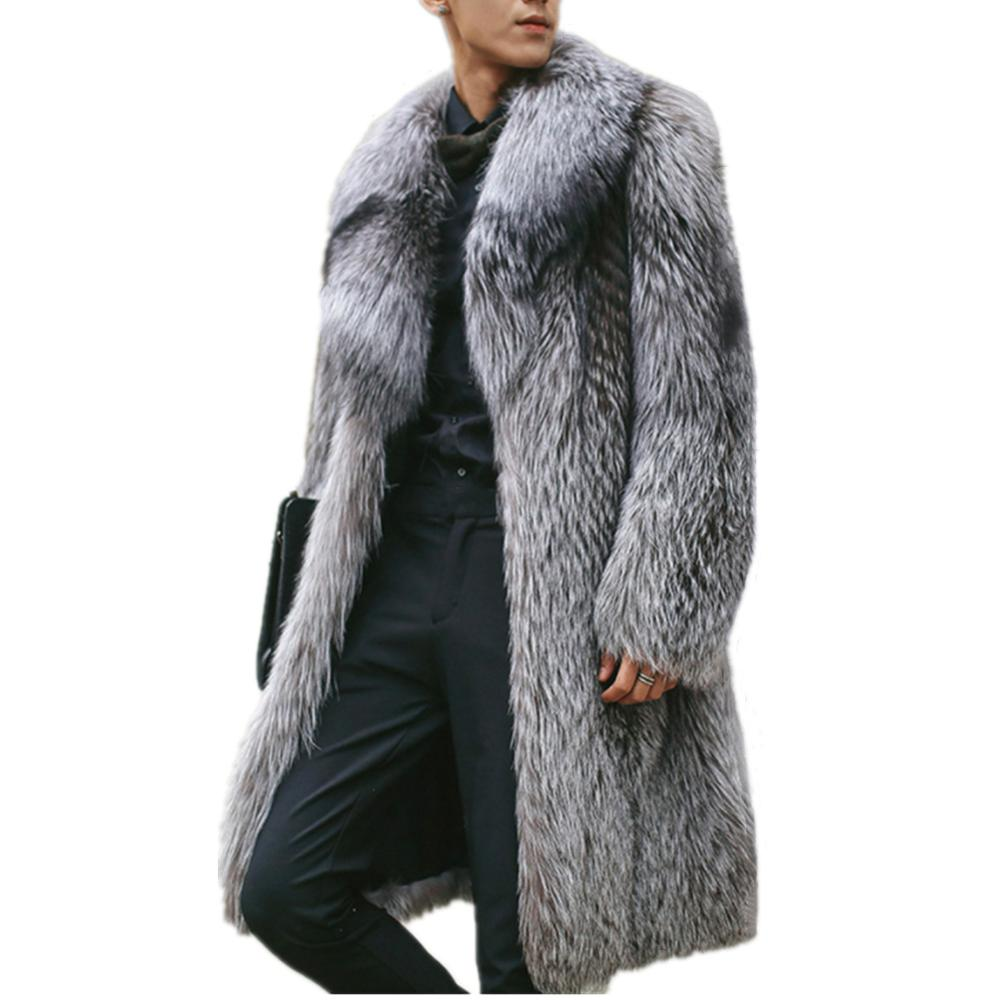 Winter Men's Overcoat Long Sleeve Turn-down Collar Faux Fur Imitation Silver Fox Fur Coat Medium Long Casual Fur Coats Jackets