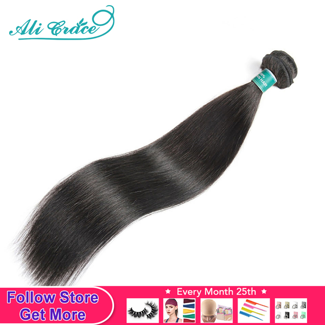 ALI GRACE pelo brasileño recto pelo mechones 1/3/4 Uds recto extensiones de cabello humano mechones 30 32 34 pulgadas Remy armadura del pelo Color Natural