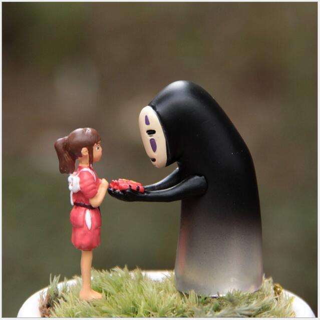 Miyazaki Hayao Spirited Away Girl No Face Man Action Figures Toy Studio Ghibli Japanese Anime Cartoon Micro Landscape Kawai 058