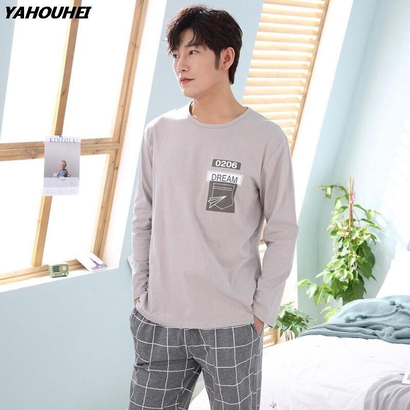 Повседневные хлопковые Пижамные комплекты в клетку для мужчин; коллекция 2018 года; сезон осень-зима; пижама с длинными рукавами и круглым