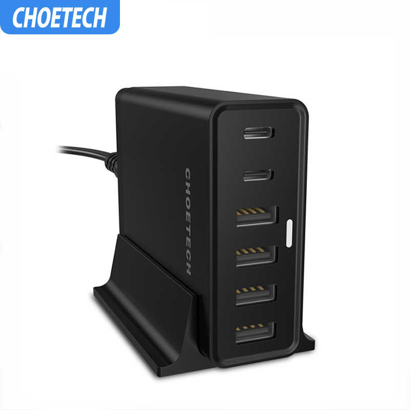 Choetech 6-Port 55W Desktop Charge Station dengan 2-Port USB Tipe C Charger untuk iPhone 11 X XS 8 4-Port USB Charger Dinding Charger