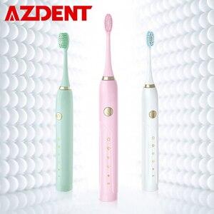 Image 1 - Распродажа, умная электрическая зубная щетка с 5 режимами, перезаряжаемая USB ультра звуковая зубная щетка с 5 насадками для зуб, для взрослых, таймер, водонепроницаемая