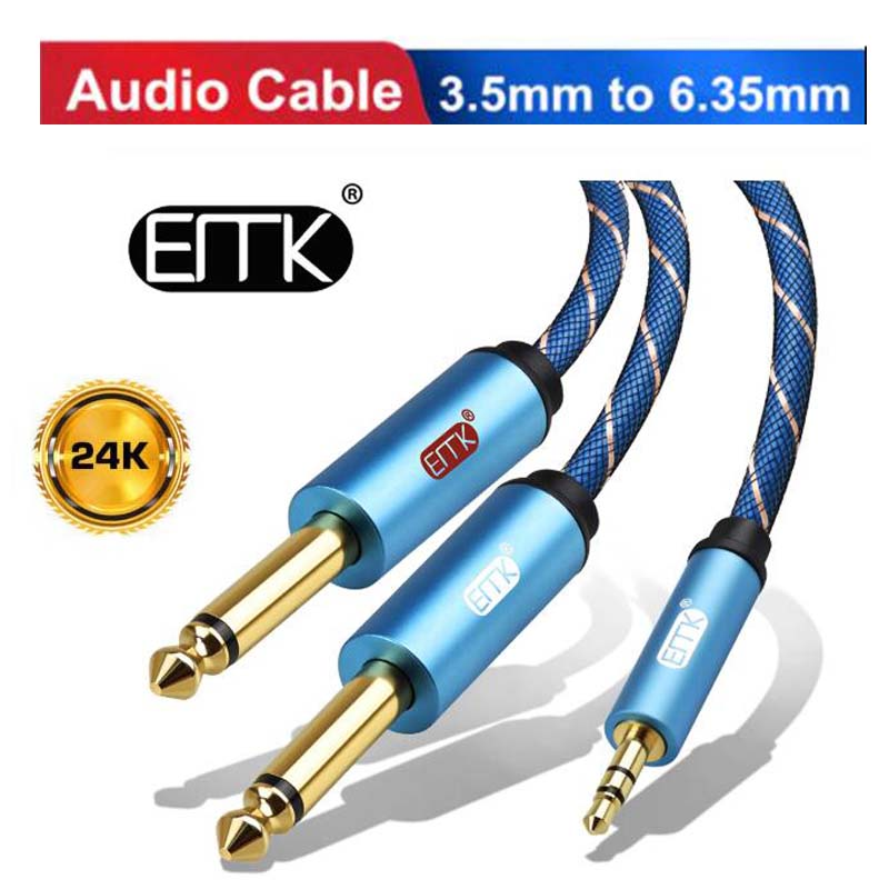 3.5mm <font><b>to</b></font> 2 6.35mm Audio <font><b>Cable</b></font> Stereo Aux <font><b>3.5</b></font> Male <font><b>to</b></font> Male 6.35 <font><b>6.3</b></font> 6.5 Audio Cord 1m for Phone Amplifier Speaker Microphone MP3 image