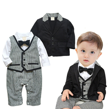 AmzBarley Baby Boys clothes set Cotton Onesies+ Jacket Newborn baby formal suit Christmas Wedding Birthday outfit Winter