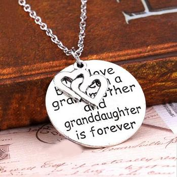 Trendy Heart Letter Round Pendant Necklace Jewelry Family Love Grandmother Gift image