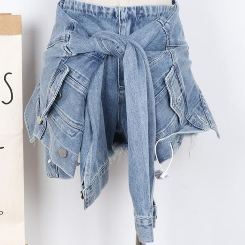 Autum Denim Women Fake Two Short Female High Waist Irregular Shorts Emale