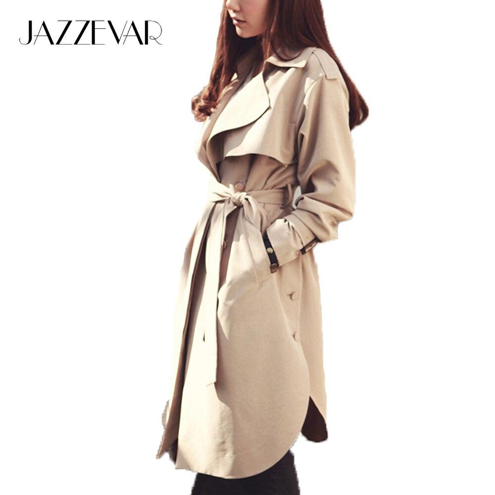 JAZZEVAR 2019 nova primavera outono moda Casual das mulheres khaki Trench Coat longo Casacos roupas soltas para senhora com cinto 850115