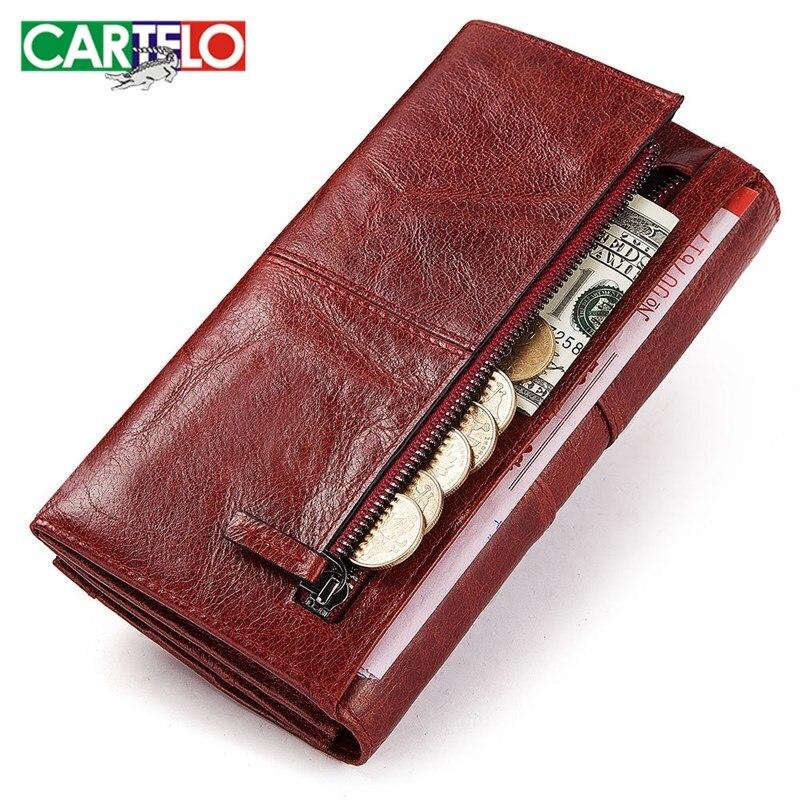 CARTELO nouveau dames mode portefeuille en cuir de vachette portefeuille long multi-carte fente grande capacité anti-vol portefeuille dembrayage pour dames
