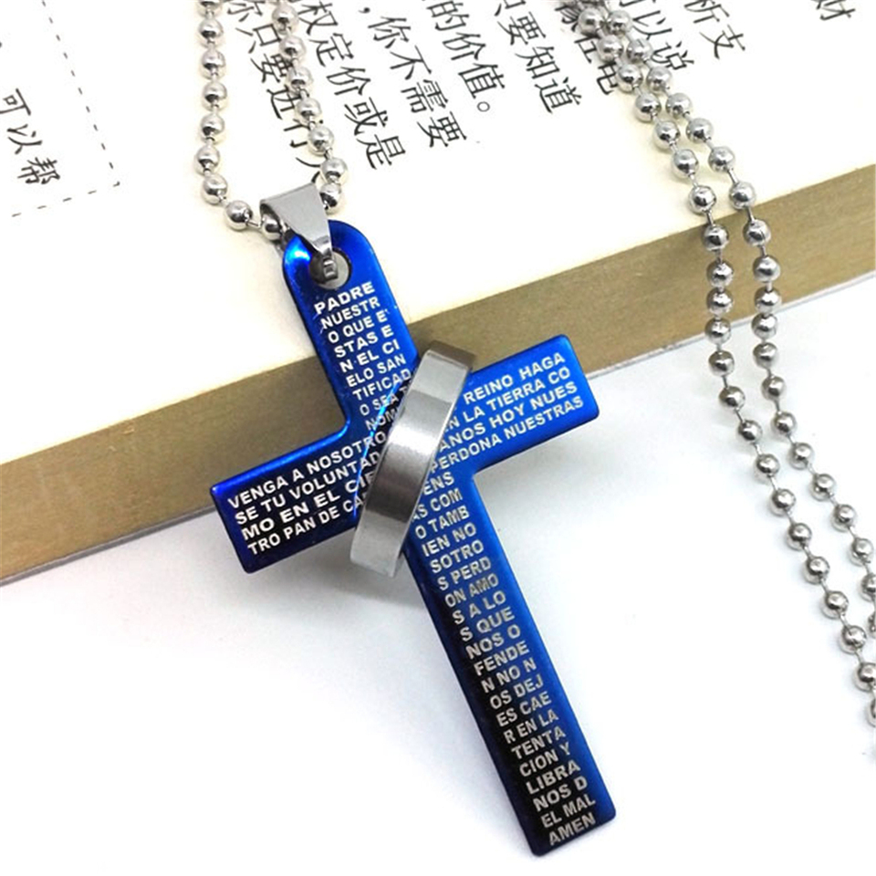 1pc Mens Stainless Steel Simple Black Cross Pendant English Bible Lords Prayer Crucifixion Christian Necklace Pendant Necklaces Aliexpress
