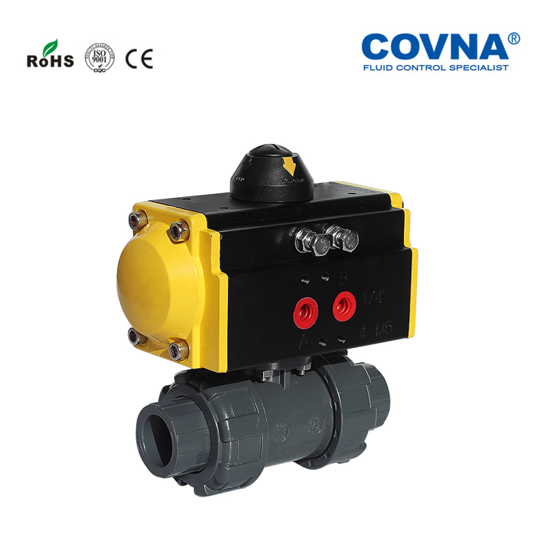 COVNA 1/2'' Double Union Pneumatic Two Ways Ball Valve DN15 PVC Pneumatic Ball Valve Spring Returned-in Valve from Home Improvement    1