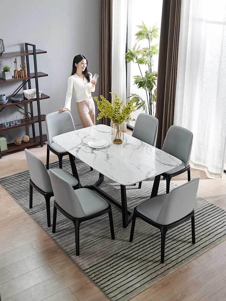 chaises de table en marbre carre de style moderne en marbre blanc naturel table a manger en bois massif chaise a manger solo pour petite maison de