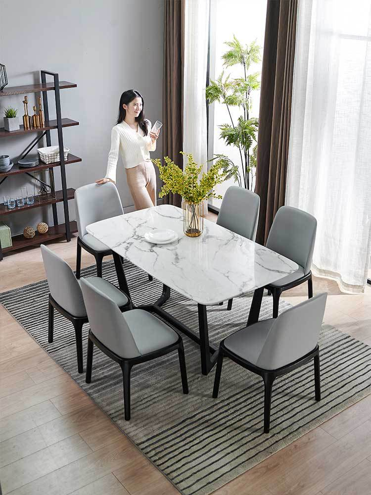 Modern Style Square Marble Table Chairs Natural White Marble Solid Wood Dinner Table Dinning Chair Solo For Small Family House